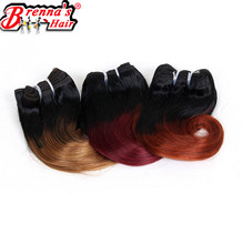 Eunice hair 8inch synthetic body wave short hair weaving ombre burgundy/613/350/blond/blue/purple/green/27/30 4 bundles/pack(China)