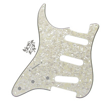 Aged Pearl 4Ply Left-handed FD Strat Guitar Pickguard SSS 11 Holes Guitar Pickguard with Screw(China)