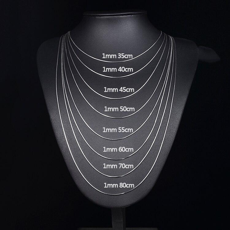 Fina Plata De Ley 925 Cadena de Plata Collar 40cm-70cm Mujer Espesor Serpiente
