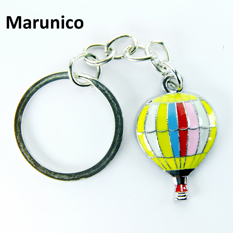 FREE SHIPPING BY DHL 100pcs/lot Newest Metal Fire Balloon Shaped Keychains Zinc Alloy Hot Air Balloon Keyrings for Gifts