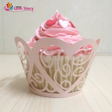 2017 New  50Pcs Cupcake Wrappers Laser Cut Love Heart Wedding Decoration Party Supplies Wedding Favors And Gifts 1st Birthday
