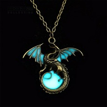 Game Of Throne Fire Dragon Pendant Necklace Metal Wings Luminous Ball Long Necklace Woman Men Children Jewelry Accessories