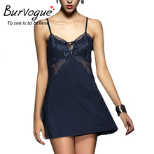 Burvogue Women Lingerie Lace Nightgown One Piece Nightdress Lace and  Pierced Nightgown Deep V Nightdress Hot Sexy Sleepwear