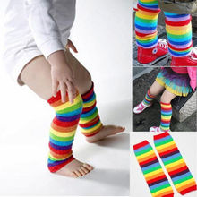 New style baby leg warmers beautiful rainbow stripe kids kneepad comfortable cotton baby leg warmers kawaii wrist(China)