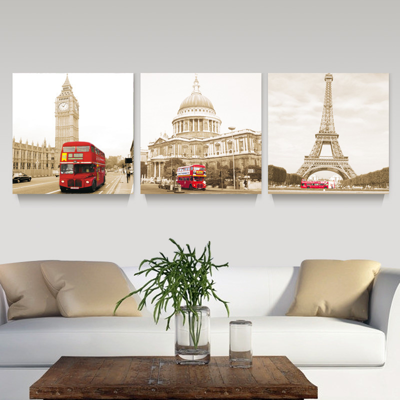 3 Panel Modern Printed London Building City Wall Art Painting Picture Town Landscape Home Decor For Living Room No Frame PR118