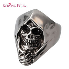 Keisha Lena NEW Men's Punk Gothic Emo Biker 316L Stainless Steel Anarchy Grim Reaper Skull Demon Ring Band Factory Price(China)