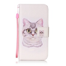 Shell for Huawei Honor 4C Cases Patterned PU Leather Wallet Phone Case with Lanyard for Huawei Honor 4 c Cover Bag- Lovely Cat