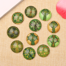 reidgaller handmade mix green cross photo round dome glass cabochon 10mm 12mm 14mm 18mm 20mm 25mm diy jewelry findings(China)