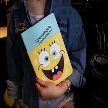2017 New cartoon SpongeBob Garfield leather cover for Apple ipad mini 4 Mario cat tablet case brand quality(China)