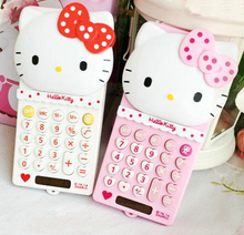 Cute Lovely Pink Hello Kitty Mini Portable Function Calculator Solar Uniwise 8 Digital Display 2-Line LCD Scientific Calculator(China)