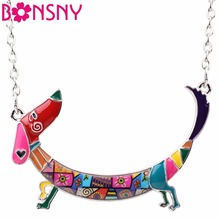 Bonsny Statement Maxi Metal Chain Enamel Pet Choker Dachshund Dog Necklace PendantCollar 2017 New Animal Jewelry For Women Girl(China)