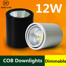 20PCS/LOT LED surface mounted downlight COB12w ceiling spotlights backdrop lights without opening round black and white dimmable