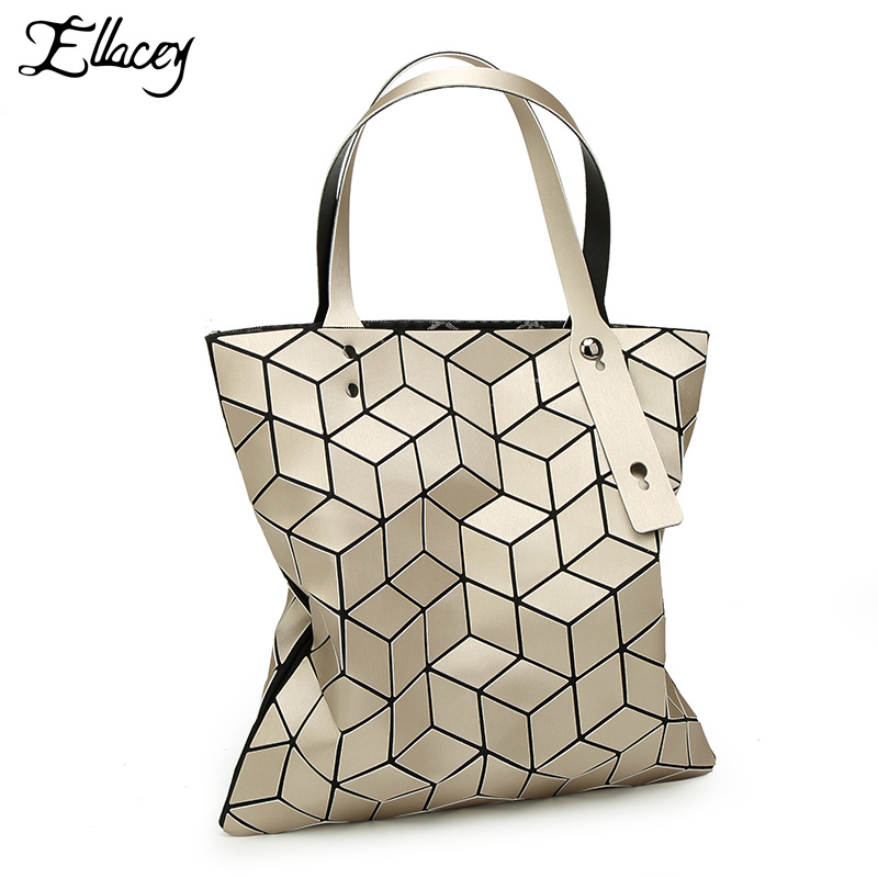 Ellacey Women Silver Geometric Plaid Handbag Fashion Diamond Plaid Shoulder Bag New Japanese Laser Female Bag Women Tote Bags <br>