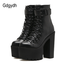 Gdgydh Fashion Motorcycle Boots Women Leather 2017 Autumn Metal Buckle High Heels Shoes Zipper Black Ankle Boots Woman Lacing(China)