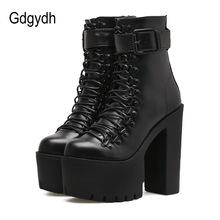 Gdgydh Fashion Motorcycle Boots Women Leather Spring Autumn Metal Buckle High Heels Shoes Zipper Black Ankle Boots Woman Lacing(China)