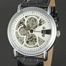 2017 Unisex Automatic Mechanical Wrist watch Leather Band Hollowed Dial Fashion Self-wind Watch Skeleton Design Movement+ BOX