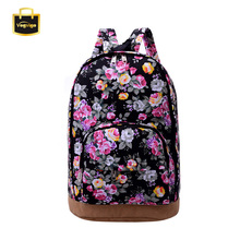 VOGVIGO 2017 Women Floral Backpacks Rose Black Blue Female Shoulders Bags Preppy Embossing Girls School Backpacks Canvas Bags