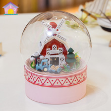 MC003 Diy Doll House Mini Glass Ball Wooden Miniature Dollhouse Toy -happy farm