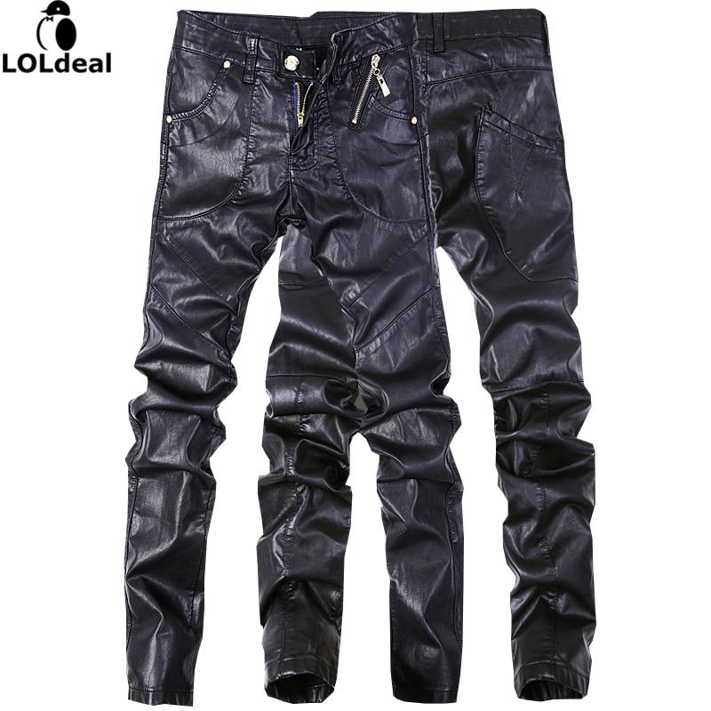 newest design high quality men leather jeans pants denim straight trousers black color size 28-36Îäåæäà è àêñåññóàðû<br><br>