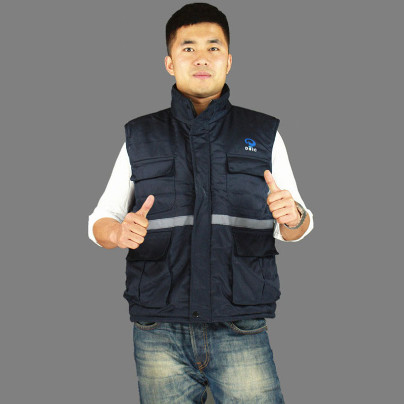 Safety clothing Overalls winter cold-resistance cotton vest reflective tape protective clothing for men women work clothes vest<br>