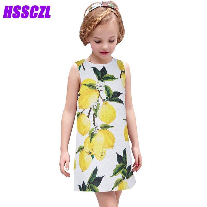 HSSCZL 3-14 age girls dressea summer 2017 New Spring Lemon Girl Floral Fresh Vest Princess Dress sleeveless high end girl dress<br>