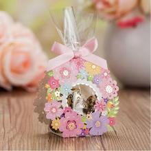 Laser Cut Wedding Favor Boxes Wedding Gifts For Guest Flower Candy Box 50 pcs Wedding Candy Bags Pink Small Paper Chocolates Box(China)