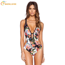 Romantic Brazilian Printed One Piece Swimsuit Women Flexible Bandage Deep V-Neck and Back Swimwear Cut Out Bathing Suit