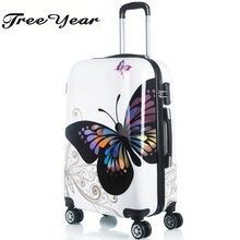 "Hot sales women butterfly ABS trolley suitcase luggage 12""20""24"" design boarding trolley bags Trolley Case Luggage Case Suitcase(China)"