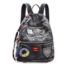 Women Backpack  Fashion Causal Demin bags High Quality Micro Chapter Female Shoulder Bag Backpacks for Student Girls mochial
