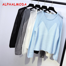 ALPHALMODA 2017 Winter Ladies Sexy Perspective Long-sleeved Sweaters Solid Color O-neck Loose Ladies Fashion Jumpers(China)