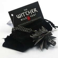 Top quality 3D The Witcher 3 Wild Hunt Medallion Necklace Pendant Wizard Witcher Wild Hunt Wolf Head Model Figure Game Bag Card
