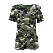 Women Street Style Summer T-Shirts Top Printed Camouflage Casual Loose T Shirt Short Sleeve V-neck Loose Tee Shirt(GREEN,GREY)