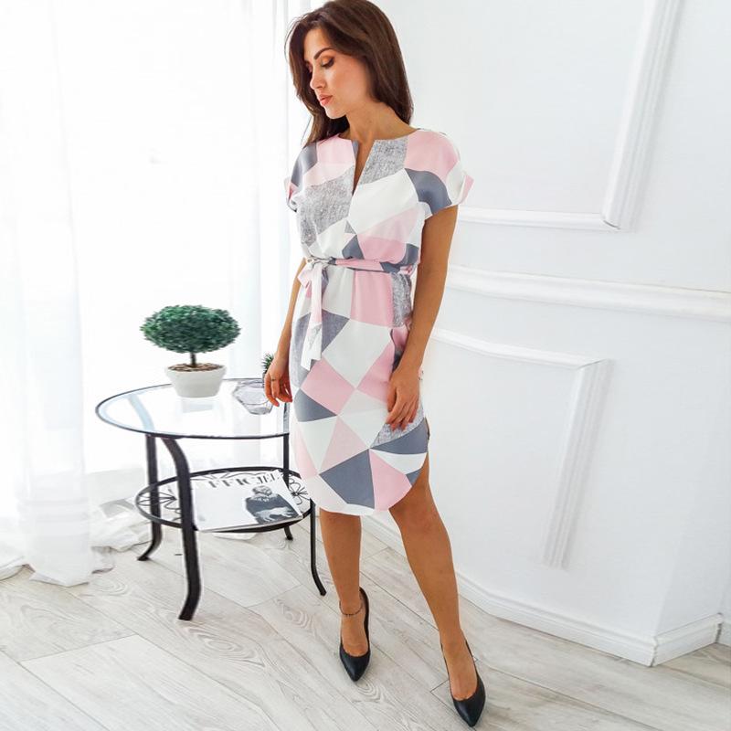 2018 Summer Dress Women Print V Neck Short Sleeve Robe Female Dresses Casual Sashes Midi Dress Ladies Elegant Vestidos Dropship 45