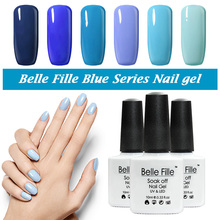 Belle Fille UV Gel Nail Polish Blue series Nail Polish Gel LED Light UV Manicure for Gel Nail Blue Sky Color Fingernail Polish(China)