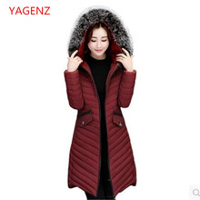 Top quality Large size Women long coat NEW Hooded Heavy hair collar Autumn Winter coat Thin Eiderdown cotton Winter jacket K2419