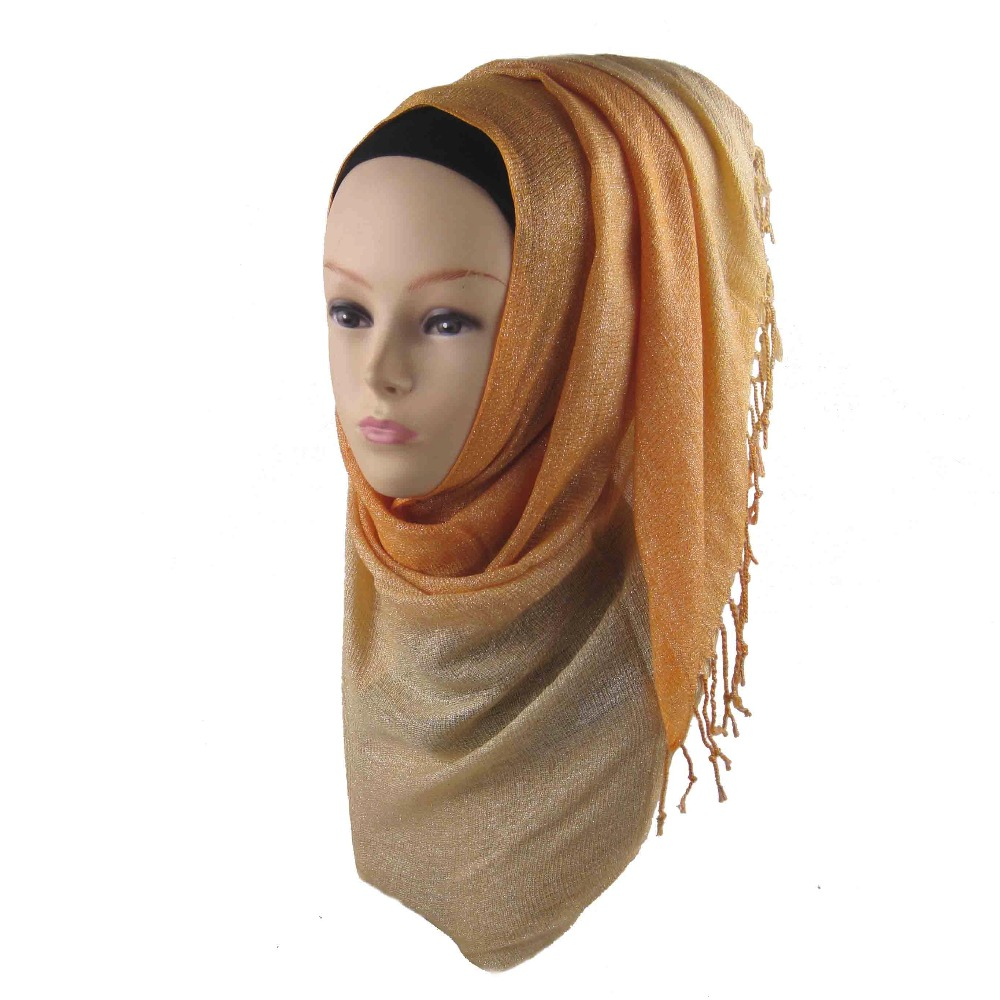 free shipping shinny gold solid scarf women plain shawl cosy viscose scarves and shawl muslim Ombre viscose shimmer hijab ca-10(China)