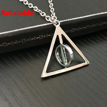 Hot Sale Movie Harry Deathly Hallows Necklace Fashion Rotated Triangle Pendant Chain Necklace For Women&Men 24pcs/lot(China)