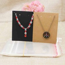 9.5*7.50cm blank paper jewelry set card necklace with earring display card 100pcs+100 match bag