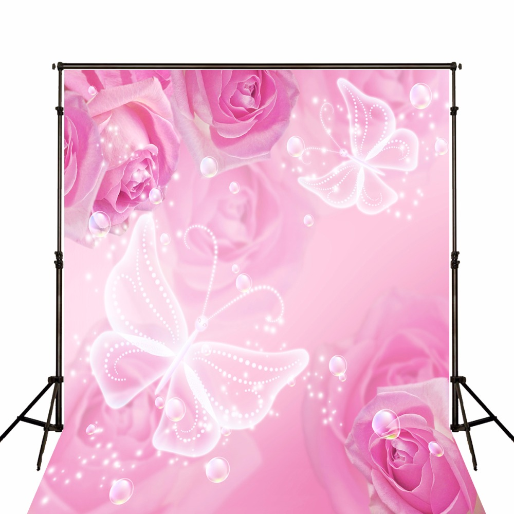 Pink Rose Flower Butterfly Photography Backgrounds High-grade Vinyl cloth Computer printed wall photo backdrop<br><br>Aliexpress