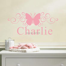 Baby Name With Curlycue Butterfly Wall Art Any Children Name Papillon Wall Stickers Nursery Room decors