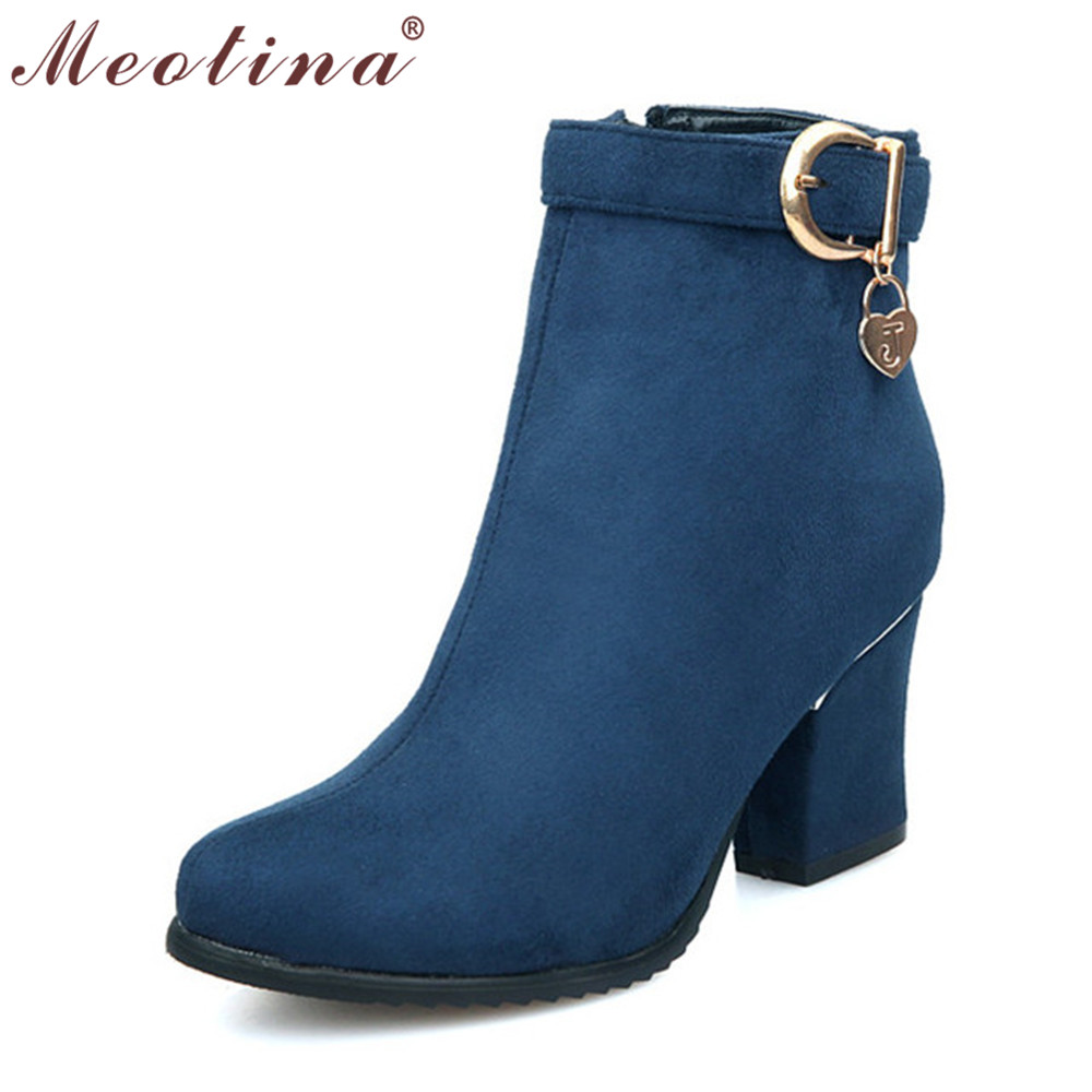 Meotina Big Size 9 10 Autumn Ladies Boots Round Toe Flock Ankle Boots Female Zip Thick High Heel Boots Sequined Green Shoes <br><br>Aliexpress