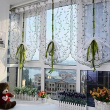 Rural Fresh Hand Embroidered Floral Cafe Kitchen Shade Sheer Voile Door Curtain