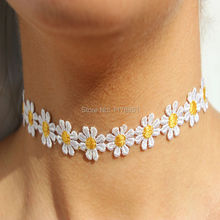 Korean Style Elegant Women Pave Knit Small Flower Daisy Tattoo Choker Necklace