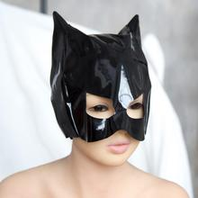 Patent Leather Cat Mask Sexy Latex Realistic Head Bondage Hood Adult Sexy Headgear Black Fetish Erotic Toys Sex Toys for Couples