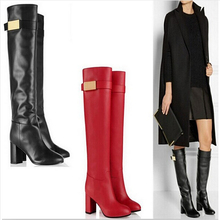 2016 Winter women leather boot thick heel knee high boots buckle women motorcycle boots red and black for Christmas gift(China)