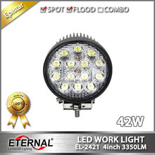 "20pcs 42W work light 4"" round off road powersports truck trailer mining truck heavy duty vehicles driving headlight spot flood"
