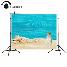Allenjoy newborn photography background Blue Wood board Beach shell drifting bottle backdrop photocall photo printed customized(China)
