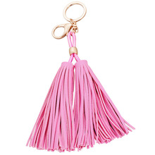 fashion handmade leather fringed car key chain girls bag pendant accessories manufacturers selling tassel keyring new design
