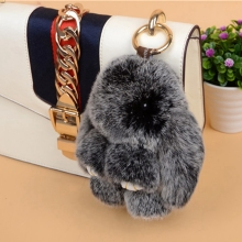 Cute Fluffy Rabbit Keychain Rex Genuine Bunny Fur Pompoms Key Chain Snow Frost White Fur Pom Pom Keychain Bag Car Charm Pendant