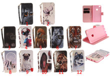 Fashion Animals Cat Dog PU Leather Case For Huawei P8/P9/P10 Lite 2017/Honor 8/Nova Lite Flip Wallet Stand Cover with Hand Strap